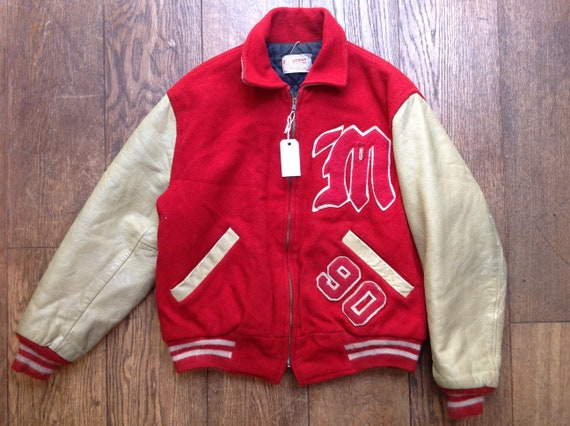 "Vintage 1960s 60s Logan Knitting Mills red cream wool leather varsity jacket 48"" chest chenille patch Talon zipper rockabilly Ivy League"