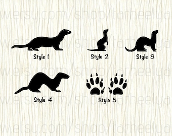 Ferret Car Decal, Ferret Decal, Ferret Print Decal,Weasel Decal,Weasel Car Decal,Wildlife Decal,Small Animal Decal,Polecat Decal,Otter Decal