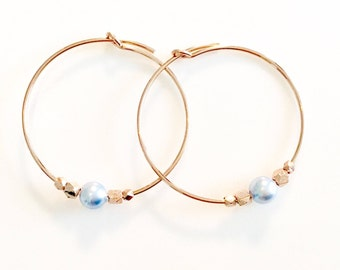 Pastel Earrings - Blue Pearl Earrings - Rose Gold Custom Bridesmaid Earrings - Light Blue Earrings - Something Blue - Pale Blue Earrings