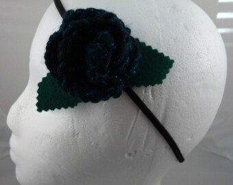Crocheted Rose Headband - Black and Dark Aqua Sparkly Rose (SWG-HH-ZZ07)