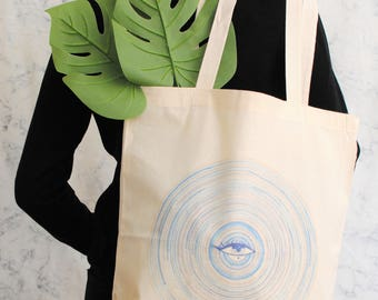 Third Eye Tote Bag, Botanic cotton tote bag, shopper bag, women tote bag, botanic bag, plants tote bag, colorful tote bag