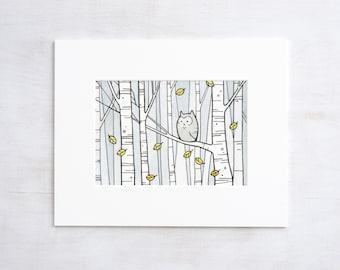 Woodland Owl Print, Owl and Birch Trees illustration, nursery wall art
