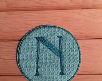 Teal Iron-On Monogram, Embroidery Letter N