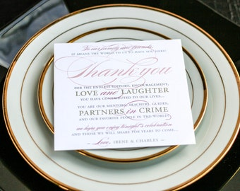 """Classic Wedding Sign, Square Thank You Sign, Event Thank You, Rose and Grey - """"Classic Romance"""" Reception Thank You Sign 5.25x5.25 - DEPOSIT"""