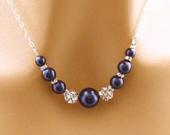 Navy Blue Wedding Jewelry, Dark Blue Bridal Necklace, Navy Blue Bridesmaid Necklace, Navy Mother of the Bride Jewelry, Special Occasion