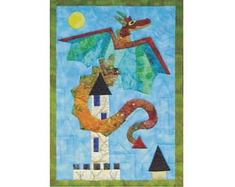 Dragons Keep is an appliqued and quilted wall hanging pattern.