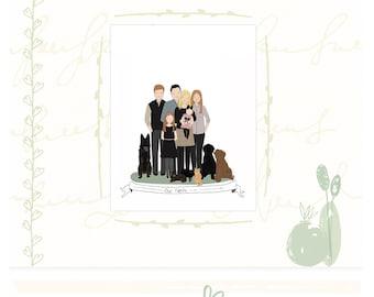 Family Portrait Custom Family Illustration Large Family Portrait Family Gift Cartoon Family Hand Drawn Illustration Custom Family Drawing