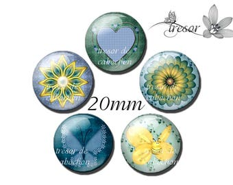 Manual PA065 glass cabochons 5pcs of 20mm vintage, a classic pattern was cool