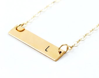 Gold Filled Initial Bar Necklace, Hand Stamped Jewelry, Gold Personalized Necklace, Bridesmaid Initial Gift, Personalized Gift