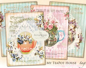 My TeaPot House Tags - Set of 9 - Collage Sheet Download - ATC Cards 2,3 x 3,5  - Digital Tea Cup Flowers - Flower Tags