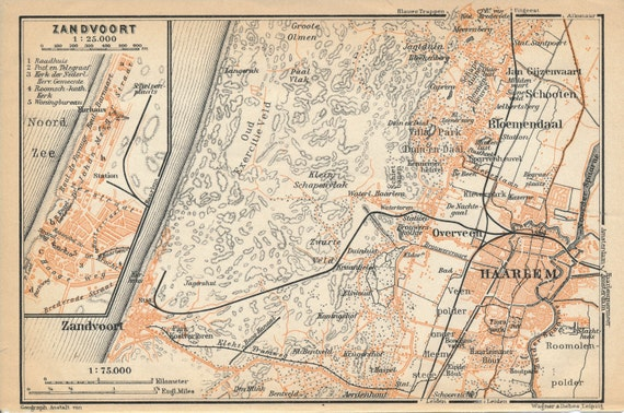 1910 Zandvoort and Haarlem Netherlands Holland Antique Map