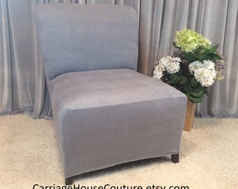 Captivating More Colors. Slipcover Light Gray Suede Chair Cover ...