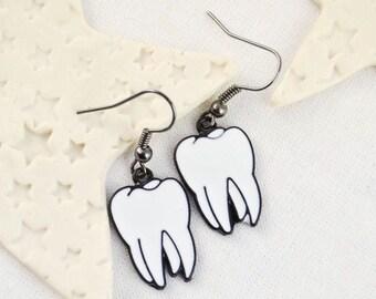 Earrings teeth - molars - tooth - anatomy earrings - Jewelry - Rockabilly - Enamel earrings - Neon - Funky earrings - grunge - funny gift