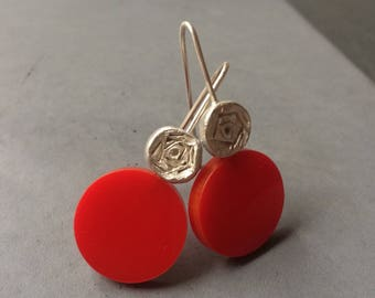 Long Sterling Silver Earrings with Rose and Red Plexi, Modern Silver Jewelry, Contemporary art