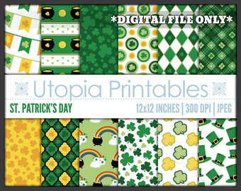 St. Patrick's Day Digital Paper Cute Irish Theme Digiscrap Pack Set Background Pattern Printable Green Clover Yellow White Commercial Use