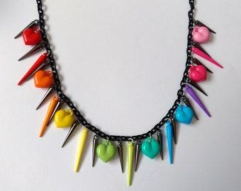 Rainbow Spike Heart Necklace - Decora Jewelry Decora Kei Oshare Kei Jewelry Kawaii Jewelry Pop Kei Jewelry Rainbow Necklace Harajuku Fashion
