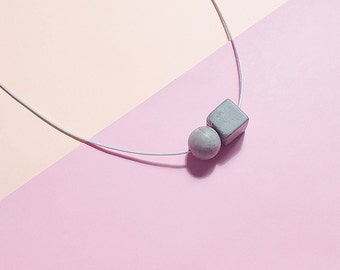 Concrete Necklace; Concrete Jewelry; Modern and Minimalist Necklace; Gray Cube and Sphere Concrete Necklace