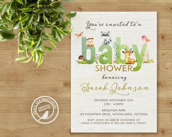 Baby Animal Baby Shower   Baby Shower invite   Woodland Invitation    Neutral Baby Shower   Printable   Invitation  0494