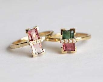 Unique Bicolor Tourmaline Ring, Unique Engagement Ring, Bi color Tourmaline Ring, Baguette Diamond Ring, Baguette Engagement Ring, MinimalVS