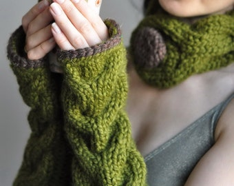 Hand knit extra long chunky cable fingerless gloves armwarmers wrist warmers gauntlets Freezebaby Mittens - olive green or CHOOSE YOUR COLOR