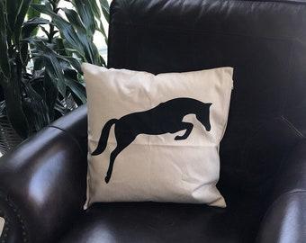 Horse pillow, jumping horse pillow, Decorative pillow, horse decor, equestrian decor, equestrian, horse gift