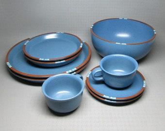 Dansk Blue Mesa assortment  2 dinner plates  2 salad plates 2 cups / saucers , one large serving bowl