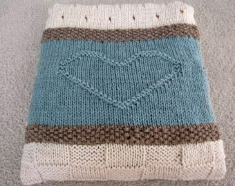 Knit Blanket Pattern, Knit Throw Pattern, Knit Heart Blanket - Seaside Blanket - Knitting Patterns by Deborah O'Leary