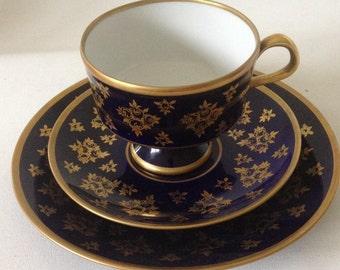 Cobalt blue Teacup trio Genuine Gilded porcelain cup & plate saucer Cake Plate coffee mug/timeless gift idea