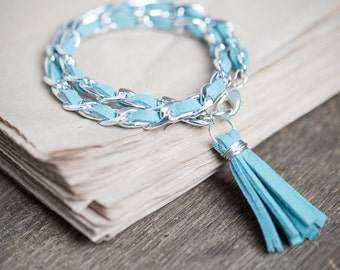 Double Wrap Tassel Bracelet Silver Chain Mint Turquoise Braided Suede Modern Boho jewelry