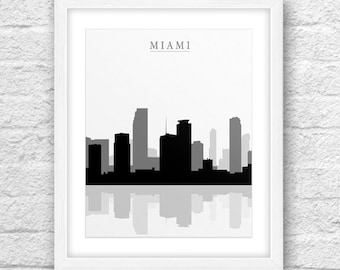 Miami City, Miami Print, Miami Art, Miami Skyline, Wall Art, Minimal Design, Minimalist Art, Miami Printable,Instant Download, Miami Art