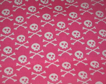 SALE  Premier Prints Pink skull  pirate fabric