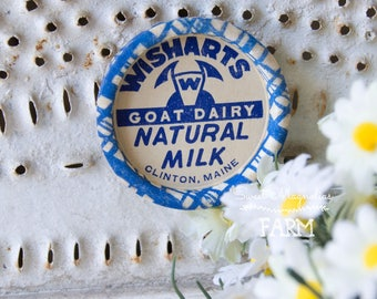 Vintage Wisharts Goad Dairy Natural Milk Bottle Cap Magnet - Wax Cap - Advertising - Kitchen - Farmhouse Decor