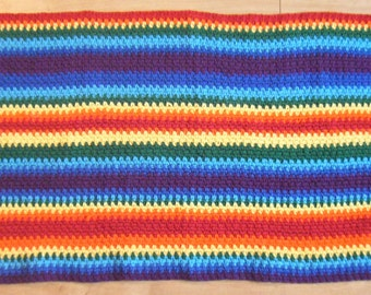 Crochet Pattern for Rainbow Rug Striped Door Mat or Bath Mat - PDF Instant Download
