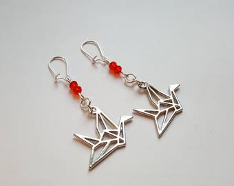Origami crane earrings and faceted beads