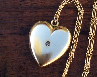 Large Antique Edwardian Wightman and Hough Co. Heart Locket, W and H Co.