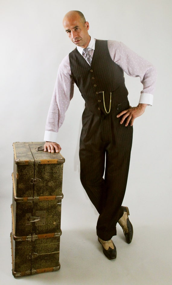 Men's Vintage Pants, Trousers, Jeans, Overalls 1940s mens pants 1930s high waisted slacks made to measure swing trousers made to order pants brown pinstripe bespoke lindy hop pants $239.63 AT vintagedancer.com