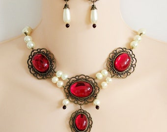 Renaissance Necklace, Earrings, Medieval Necklace, Tudor, Medieval Jewelry, Renaissance Jewelry, Game of Thrones, Ren Faire, GOT, Rdy 2 Ship