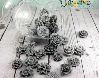 Cabochon flowers, Scrapbooking embellishments, Card making, Invitations