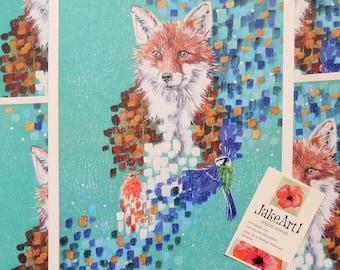 Fox abstract digital print, wildlife painting, abstract art, free postage, statement art, fox art, wildlife art, fox print, animal print