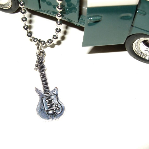 Guitar Pendant, Steel Ball Chain, Man's Jewelry, Silver Guitar Charm, Unisex Necklace, Guitarist Necklace, Band Necklace, Guitar Jewelry