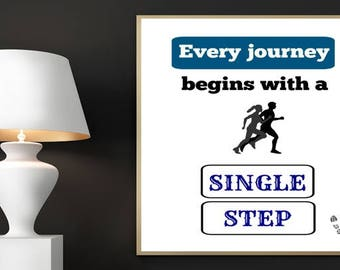 Running Print, Every Journey Begins With A Single Step, Digital Print, Printable Art, Inspirational Quote, Home Decor, Jogging, Jogger Quote