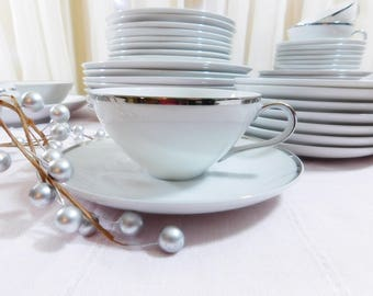 Vintage Harmony House Moderne, Fine China, Made in Japan, Service for 8  White and platinum dinnerware