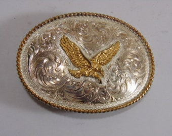 Vintage Collectible Etched Eagle Belt Buckle by Montana Silversmiths