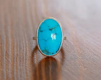 Blue Kingman Turquoise Ring, Sterling Silver