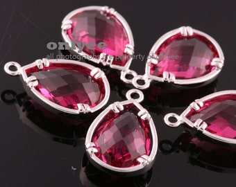 2pcs-16mmX10mm Rhodium plated Brass Faceted NEW Tear Drop With Glass pendants-Ruby(M379S-B)