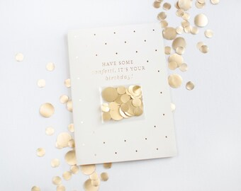 Confetti Greeting Card / Birthday Greeting Card / Gold foil Card / Letterpress Card / Real Gold foil  / Gold Confetti fun Card