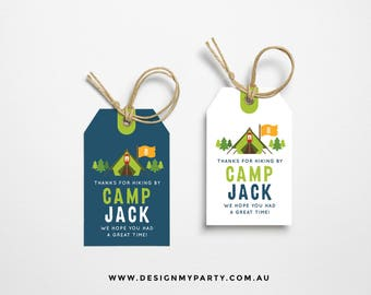 Camping Sleep Over Lolly Bag Party Treat Tags (DIY Printables)