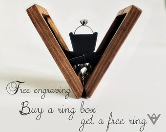 Wooden Ring Box, Wooden Engagement Ring Box, Thin Ring Box, Proposal Ring Box, Custom Ring Box Wedding, Wood Ring Box, Ring Box , Ring Case