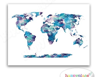 Pretty pastel watercolor world map map of the world print dark blue aqua and purple watercolor world map poster print suit home or babys nursery bedroom large world map art or dorm room wall art gumiabroncs Image collections