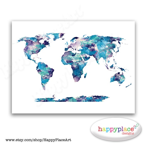 Dark blue aqua and purple watercolor world map poster print gumiabroncs Images